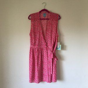 NWT CECE Pink Desert Floral Sleeveless Wrap Dress